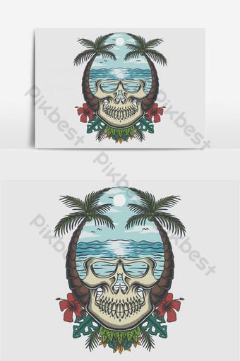 Ilustración de vector tropical de playa de cráneo Elementos graficos Modelo EPS