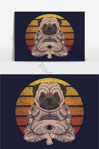 Ilustración de vector retro puesta de sol perro Pug yoga Elementos graficos Modelo EPS