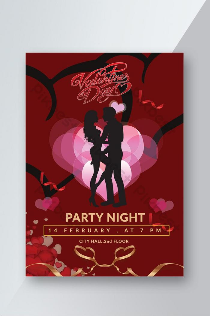 innovative red color valentines day party night flyer