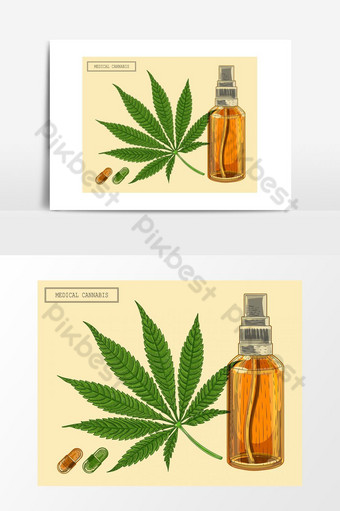 Medical cannabis marijuana nine-pointed leaf and bottle, hand-drawn pic in a retro trend PNG Images Template EPS