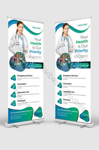 medical service roll up banner template Template AI