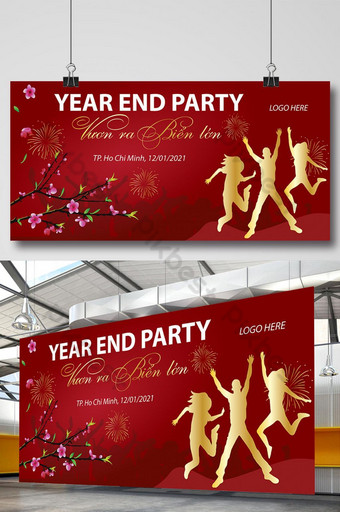 pesta akhir tahun 2021 poster spanduk signage lunar vietnam tet Templat AI