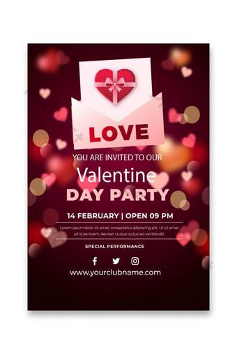 Modèle gratuit de conception de flyer Happy Valentines Day Modèle AI