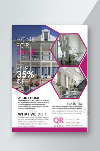 Modèle de Flyer d & # 39; immobilier de couleur blanche et rose de conception d & # 39; idées créatives innovantes Modèle PSD