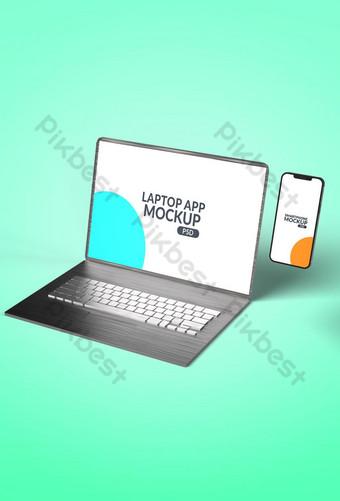 Maqueta de Laptop con Smartphone Modelo PSD