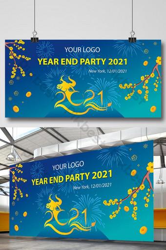 pesta akhir tahun vietnam 2021 latar belakang biru dalam spanduk tet lunar Templat AI