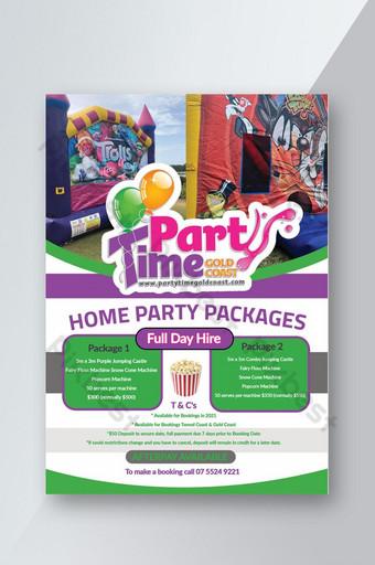 Modèle de Flyer de paquets de fête multicolores de conception d'idées créatives Modèle PSD