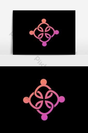 Connect People Logo Template Logotipo de personas de la red de medios sociales Elementos graficos Modelo AI
