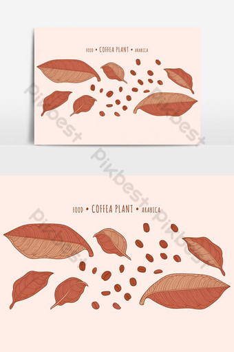 coffeea plant. coffeee beans and leaves in the hand-drawn technique PNG Images Template EPS