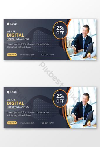 Plantilla de diseño de banner de foto de portada de facebook de redes sociales de marketing digital archivo ai Modelo AI