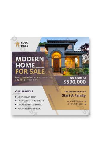 Plantilla de diseño de banner de publicación de redes sociales de bienes raíces anuncios de venta de viviendas archivo ai Modelo AI