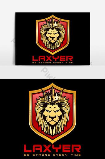 Rey León con diseño de logotipo de escudo Elementos graficos Modelo AI