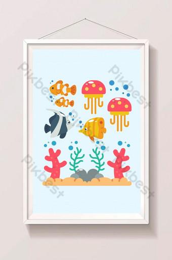 Sea life animals plants composition colored cartoon Illustration Template AI
