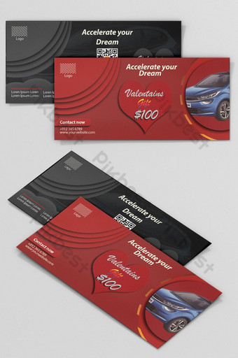 Gift Voucher Car Sell Social Media Valentine Offer Facebook Post Drive Promo Discount Template PSD