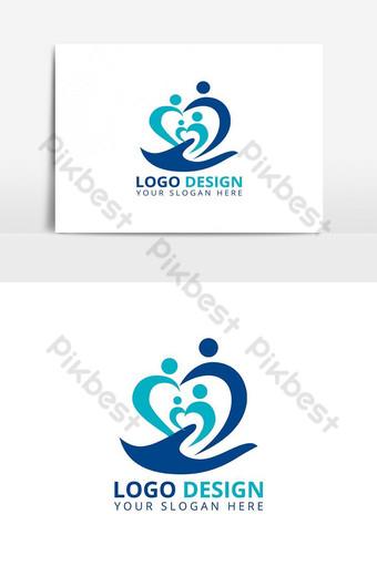 Vector de diseño de logotipo profesional de cuidado familiar Elementos graficos Modelo AI