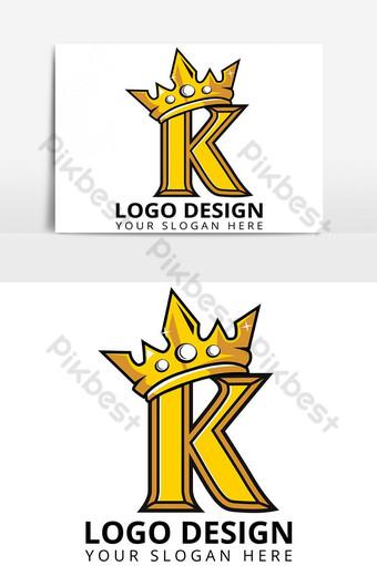 Diseño de logotipo K Letter King Mascot Elementos graficos Modelo AI