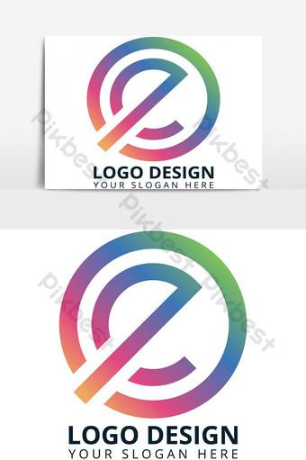 huruf e desain logo modern berwarna-warni Elemen Grafis Templat AI