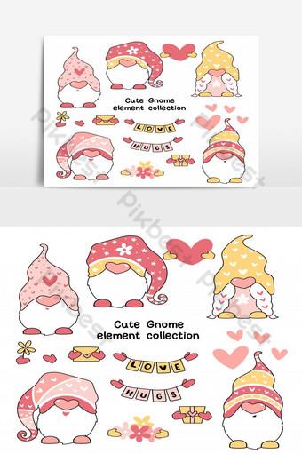 Cute Valentine Gnome en éléments clipart rose et jaune pour carte de voeux imprimable Éléments graphiques Modèle PSD
