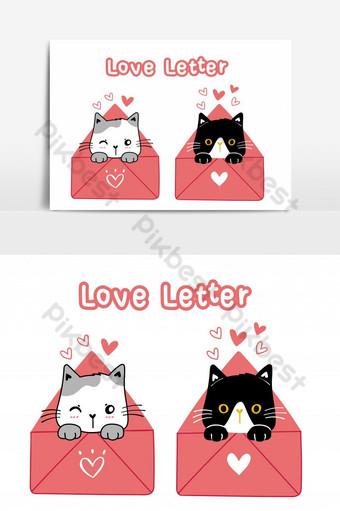 Lindo gato de San Valentín en blanco y negro en rosa carta de amor ilustración de dibujos animados Elementos graficos Modelo PSD