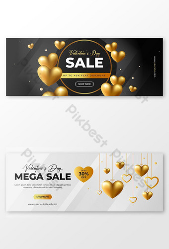 Elegante banner de redes sociales de promoción de venta de San Valentín con fondo de corazón Modelo EPS