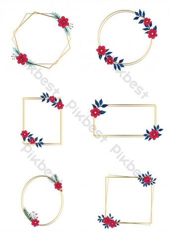 marco floral acuarela vector Elementos graficos Modelo PSD