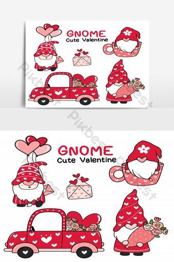 빨간 모자 컬렉션 만화 낙서 평면 벡터 클립 아트에 귀여운 발렌타인 사랑 그놈 일러스트 템플릿 AI