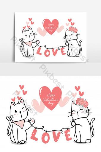 Linda pareja de gatos de San Valentín con corazón amor Feliz día de San Valentín lindo gato contorno de dibujos animados Elementos graficos Modelo AI