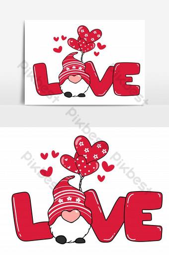 Gnomo de San Valentín con carta de AMOR y globo de corazón vector de dibujos animados de gnomo de San Valentín rojo Elementos graficos Modelo PSD