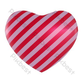 Representación 3d del corazón rojo a rayas blancas Elementos graficos Modelo PNG