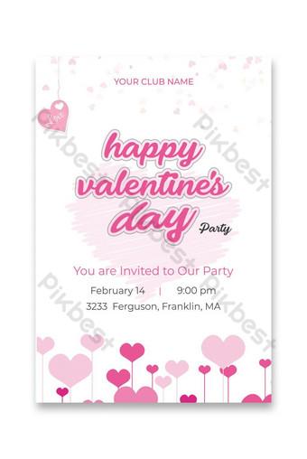 Conception de cartes d'invitation rose valentine Modèle PSD