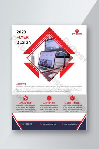 Plantillas de diseño de folletos comerciales profesionales color rojo Modelo AI