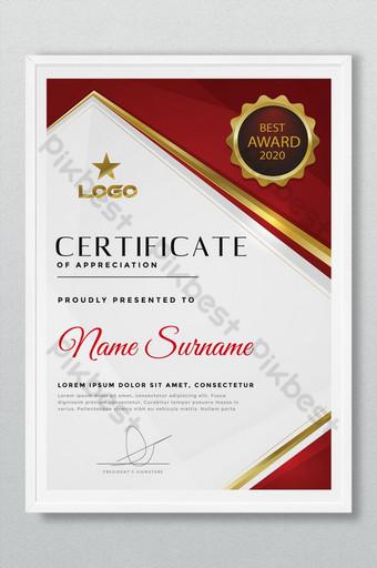 Diseño creativo de certificado de premio rojo y dorado. Modelo AI