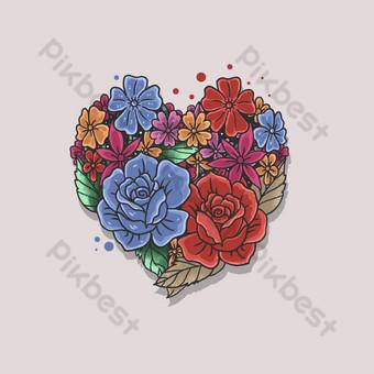 vector de ilustración de forma de corazón rosa floral Elementos graficos Modelo EPS