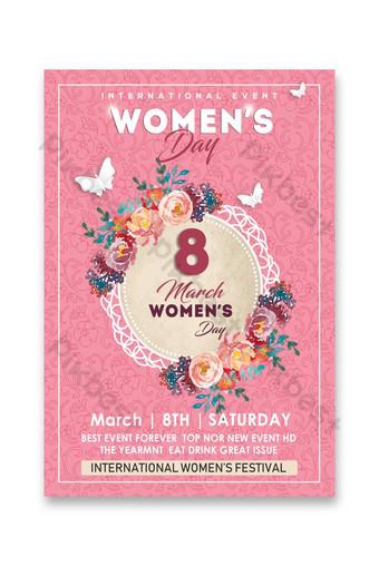 Diseño de cartel floral del día de la mujer Modelo PSD