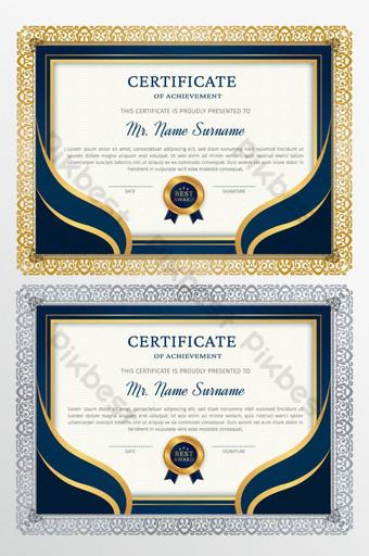 plantilla de diseño de premio certificado azul y dorado Modelo EPS