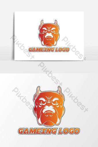 Vector de logo de juego de cabeza de perro gigante Elementos graficos Modelo AI