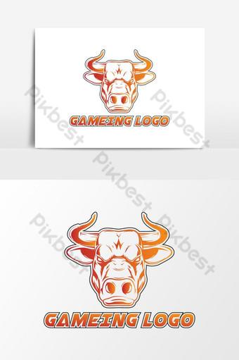 Vector de logo de juego de cabeza de toro gigante Elementos graficos Modelo AI
