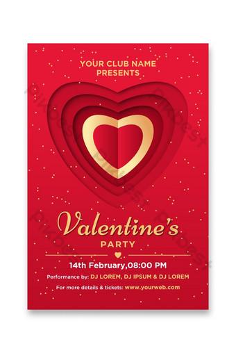 flyer de fête de saint valentin rouge et or avec forme de coeur Modèle AI