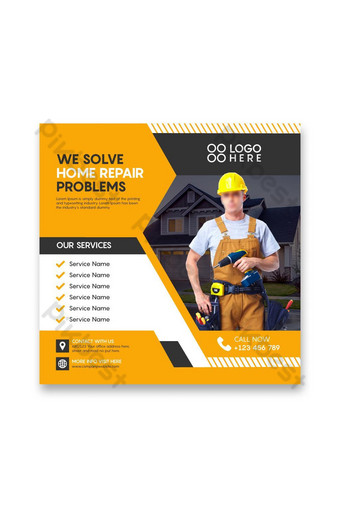 Service promotion home repair construction social media posts Template AI