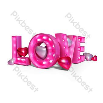 renderização 3d de néon de texto rosa amor Elementos gráficos Modelo PNG