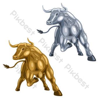 kartun tampilan depan logam emas dan perak banteng Elemen Grafis Templat EPS