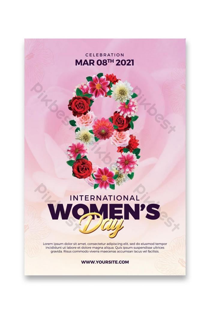 beautiful international womens day flyer template