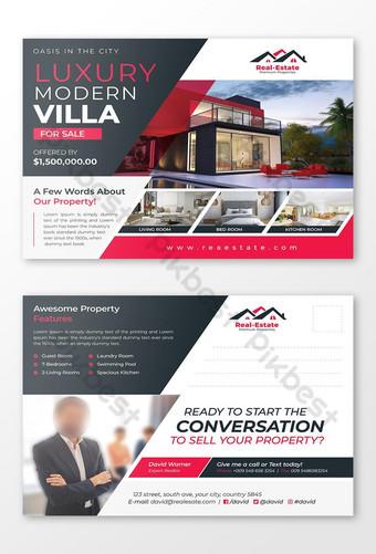 Modèle de Carte postale de villa moderne de luxe à vendre par didargds Modèle PSD