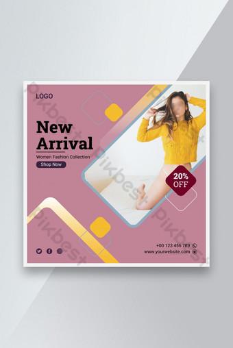 baru kedatangan penjualan fashion banner desain template posting media sosial Templat AI