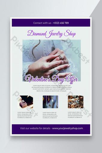 conception de flyer de bijoux de luxe offre saint valentin Modèle PSD