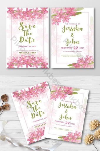 carte d'invitation de mariage floral rose Modèle EPS
