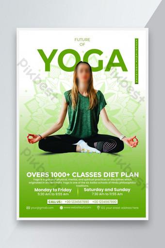 dépliant simple de yoga naturel vert Modèle PSD