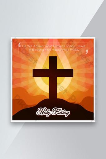 diseño de plantilla de publicación de redes sociales de viernes santo cristiano Modelo EPS