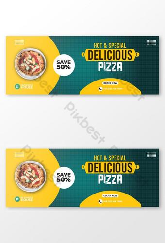 pizza muy deliciosa comida rápida diseño de portada de facebook Modelo EPS