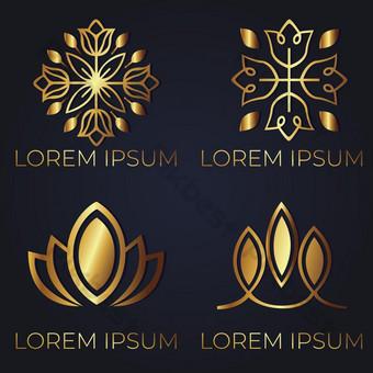 pack elegante logo de belleza dorada diseño moderno Elementos graficos Modelo AI